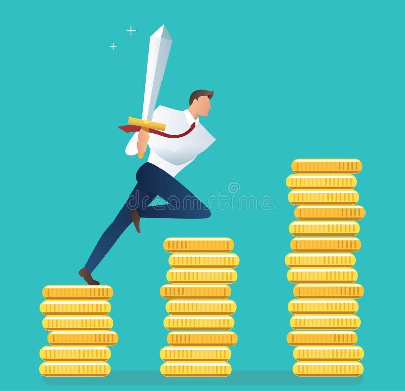 Hombre de negocios que sostiene la espada en monedas de oro, concepto de motivación para el ejemplo del vector del logro libre illustration