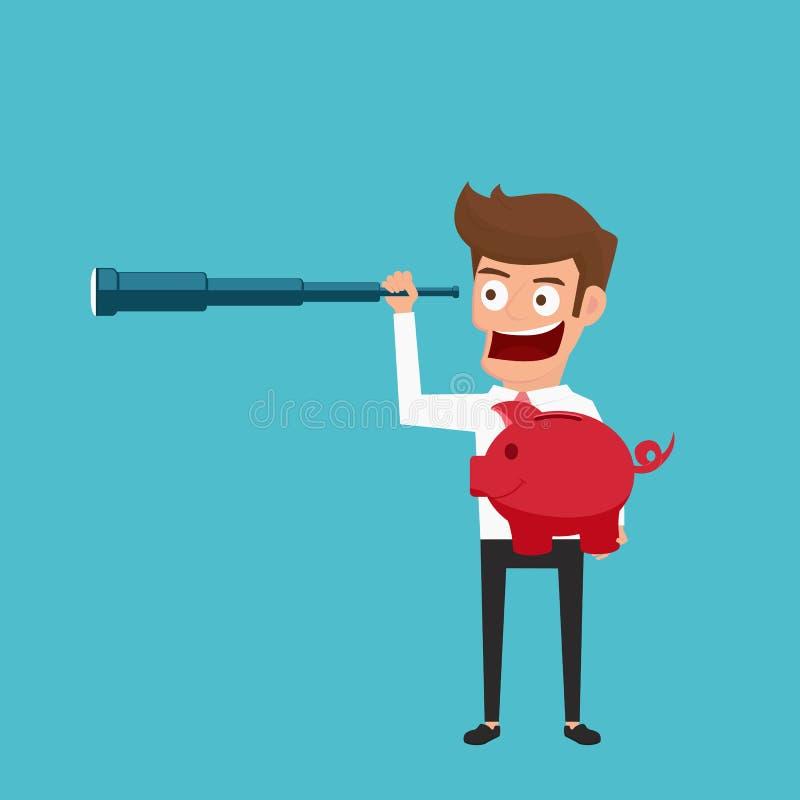 Hombre de negocios que sostiene la hucha usando el telescopio que busca alto retorno en la inversión, el beneficio, el dinero y a stock de ilustración