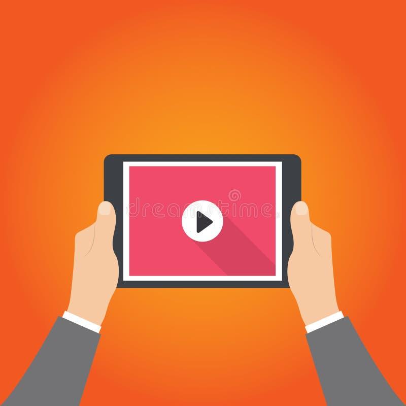 Hombre de negocios que sostiene la tableta con el vídeo en la pantalla en las manos humanas, ejemplo del vector, EPS 10 libre illustration