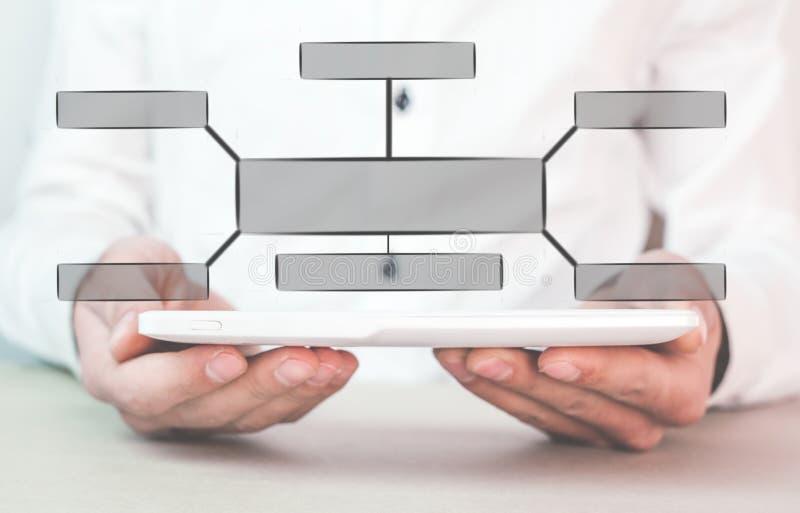 Hombre de negocios que sostiene la tableta digital con un organigrama Concepto del asunto imagenes de archivo