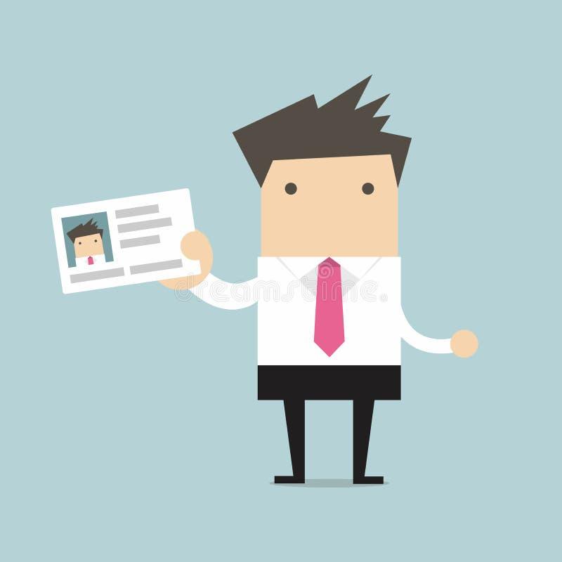 Hombre de negocios que sostiene la tarjeta de la identificación en estilo plano stock de ilustración