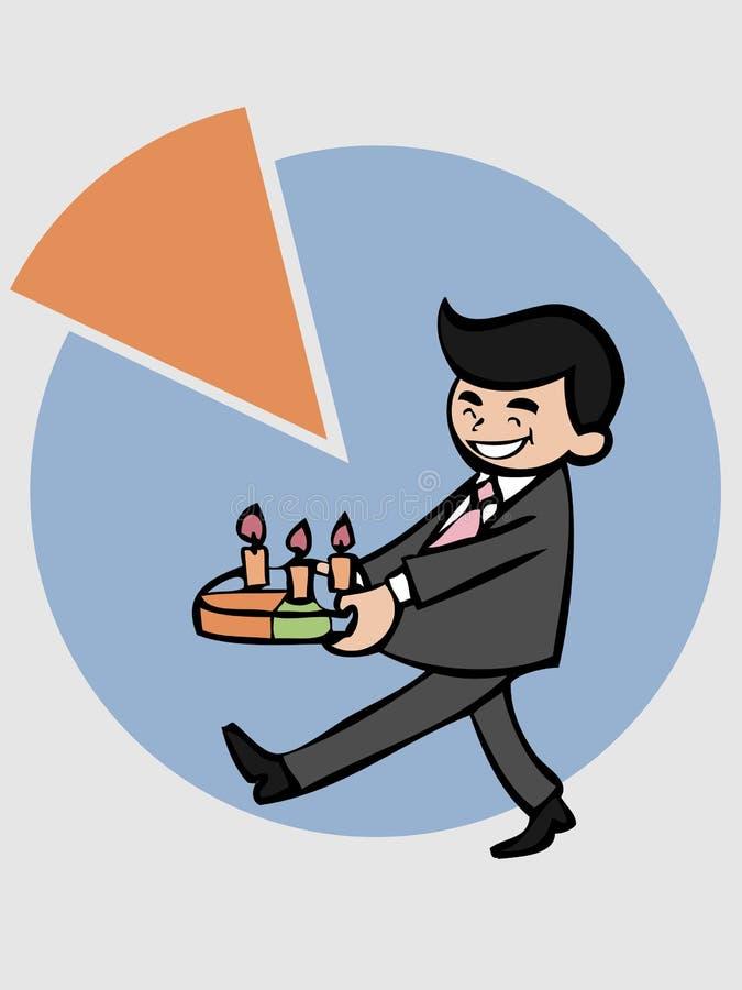 Hombre de negocios que sostiene la torta de la empanada ilustración del vector
