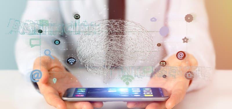 Hombre de negocios que sostiene un 3d que rinde conce de la inteligencia artificial imagen de archivo libre de regalías