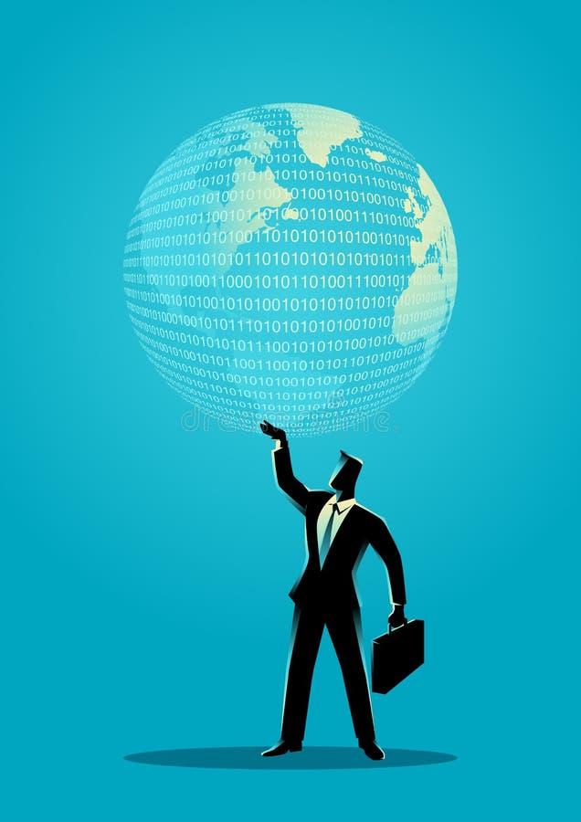 Hombre de negocios que sostiene un globo digital ilustración del vector