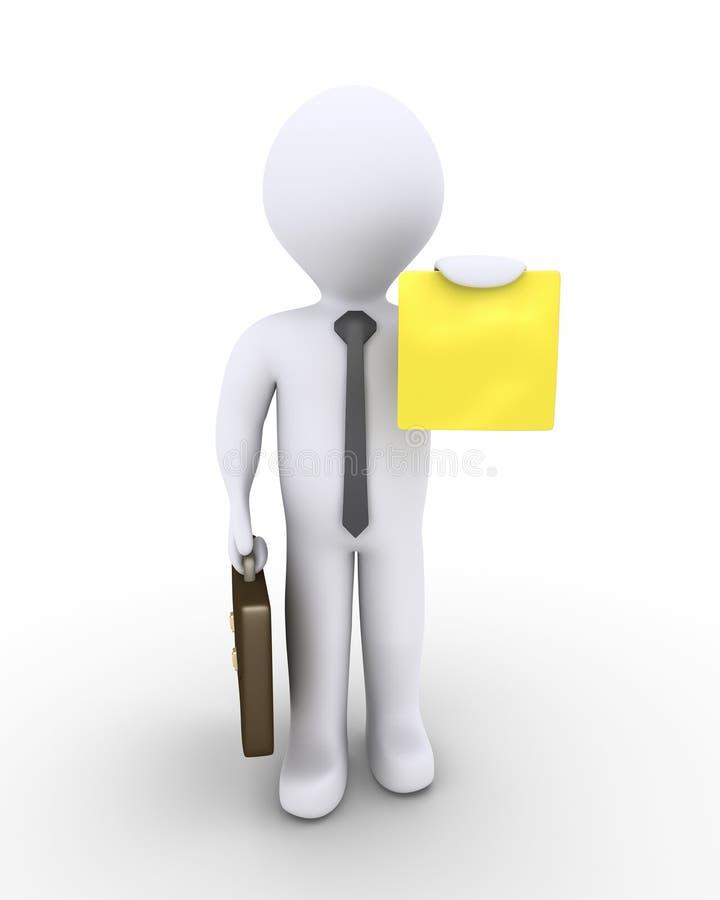 Hombre de negocios que sostiene un pequeño papel libre illustration