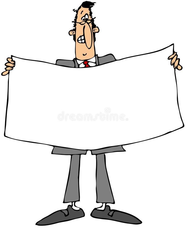 Hombre de negocios que sostiene una bandera blanca stock de ilustración