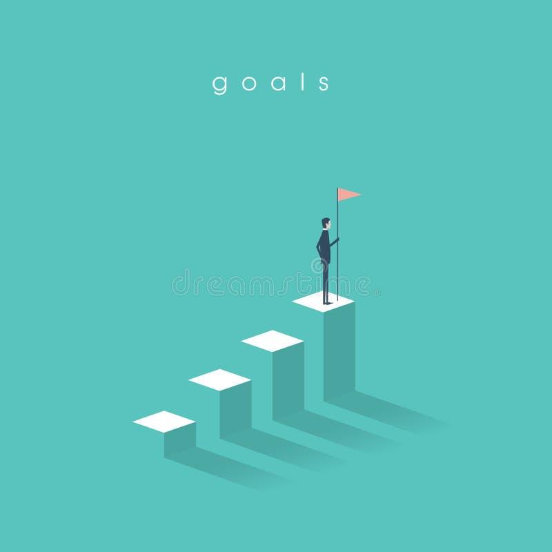 Hombre de negocios que sostiene una bandera encima del gráfico de la columna Concepto del negocio de metas, de éxito, de logro y  libre illustration