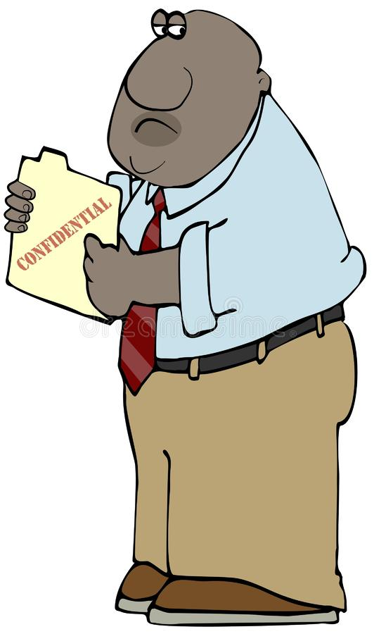 Hombre de negocios que sostiene una carpeta de archivos confidencial stock de ilustración