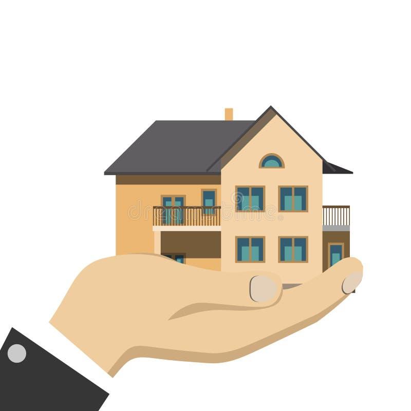 Hombre de negocios que sostiene una casa aislada ilustración del vector