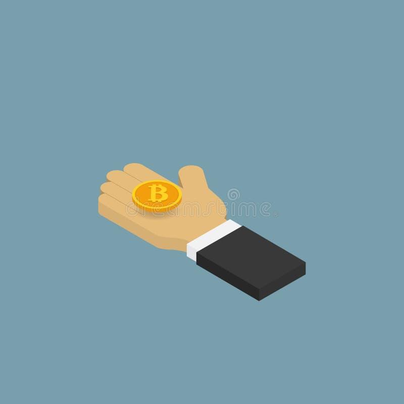 Hombre de negocios que sostiene una moneda Bitcoins stock de ilustración