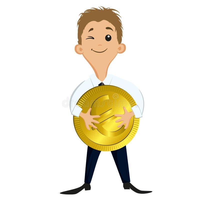 Hombre de negocios que sostiene una moneda grande ilustración del vector