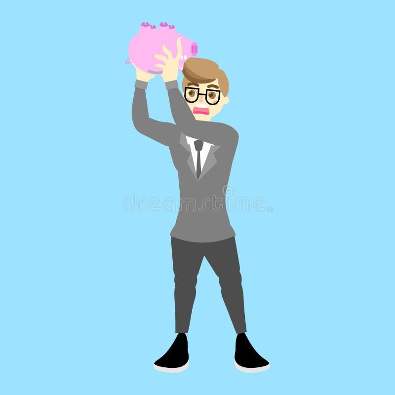 hombre de negocios que sostiene y que sacude la hucha rosada vacía, concepto de ahorro del dinero ilustración del vector