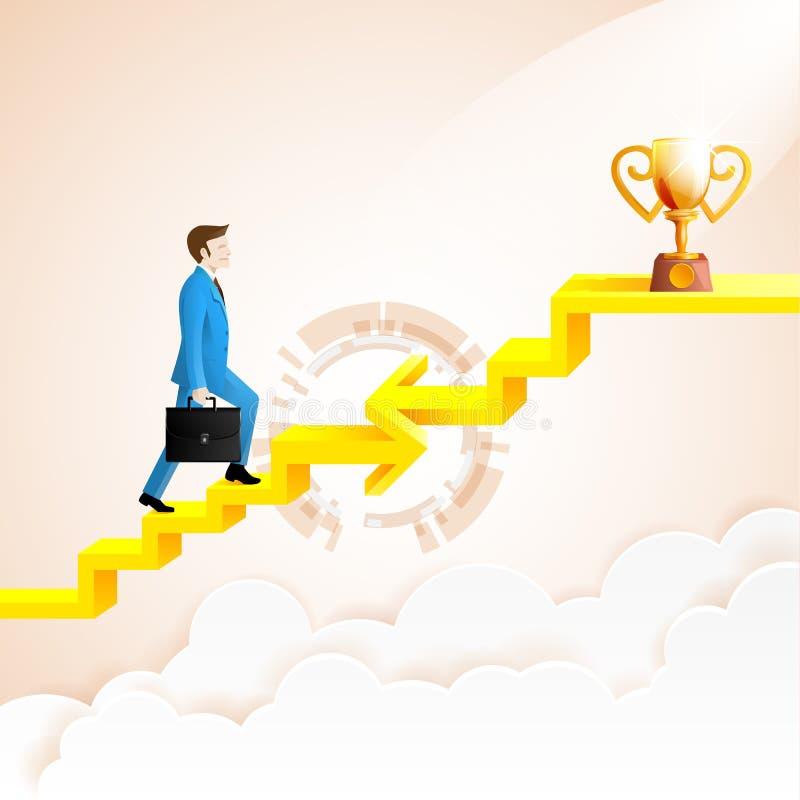 Hombre de negocios que sube al éxito con la conexión de la flecha libre illustration