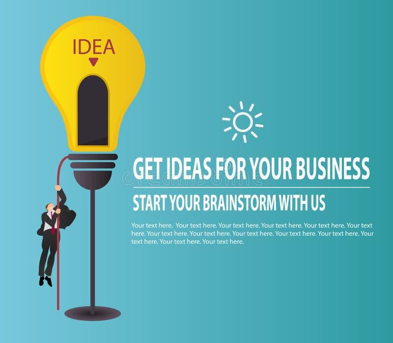Hombre de negocios que sube en cuerda a la iluminación de la lámpara para navegar al éxito Inspirarse idea y concepto del negocio ilustración del vector