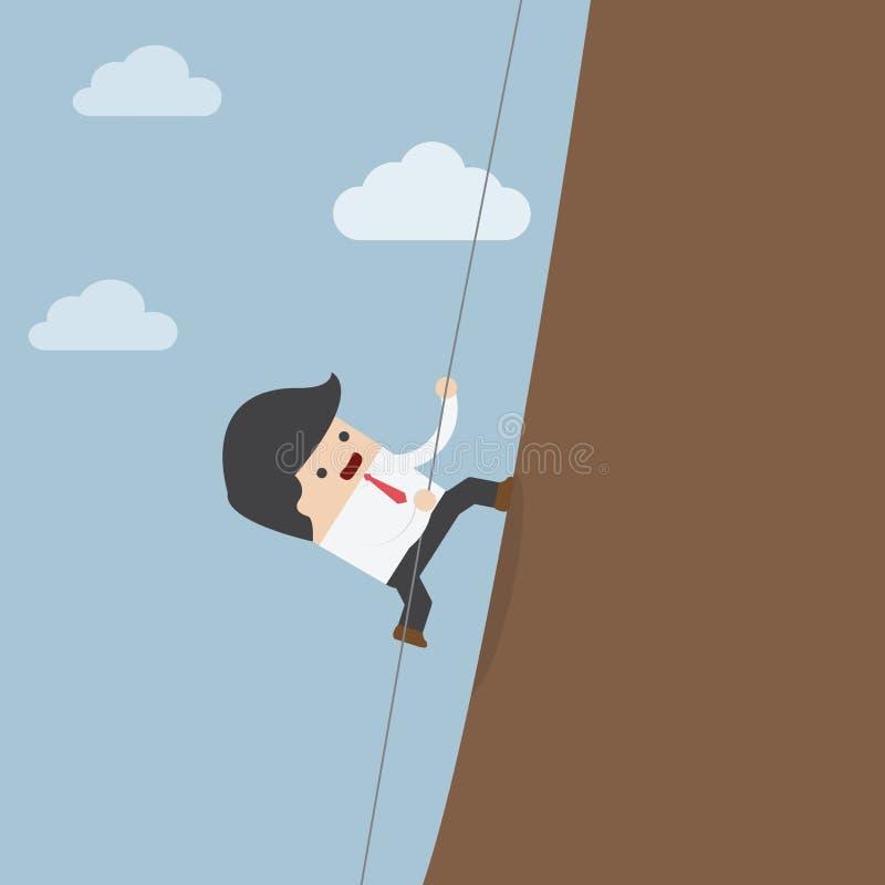 Hombre de negocios que sube en las rocas ilustración del vector