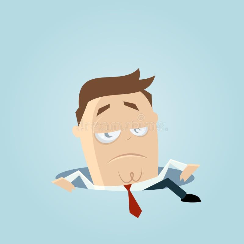 Hombre de negocios que sube fuera de un agujero stock de ilustración