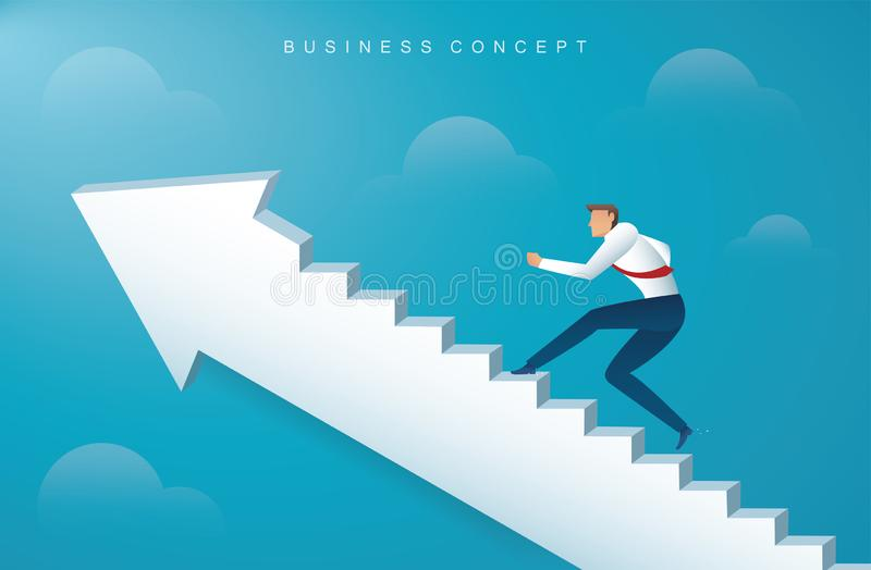Hombre de negocios que sube las escaleras de la flecha al ejemplo eps10 del vector del éxito ilustración del vector
