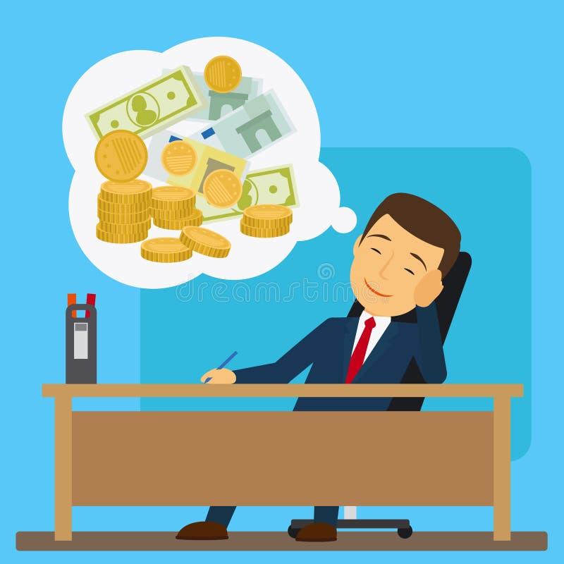 Hombre de negocios que sueña sobre el dinero ilustración del vector
