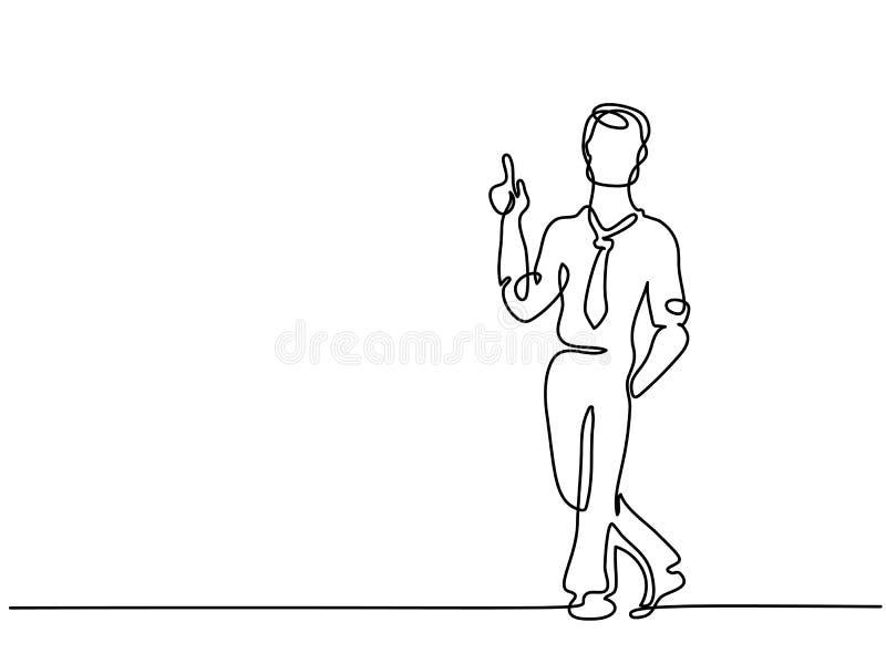 Hombre de negocios que tiene idea y que destaca el finger stock de ilustración