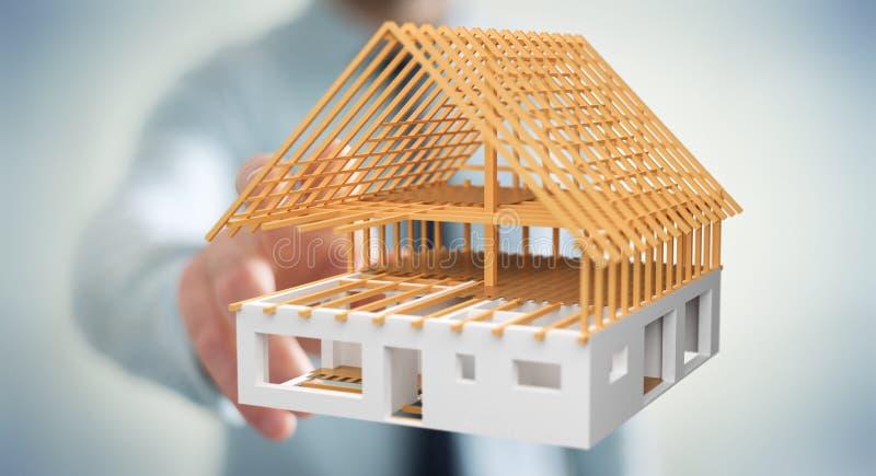 Hombre de negocios que toca 3D que rinde la casa inacabada del plan con el suyo ilustración del vector