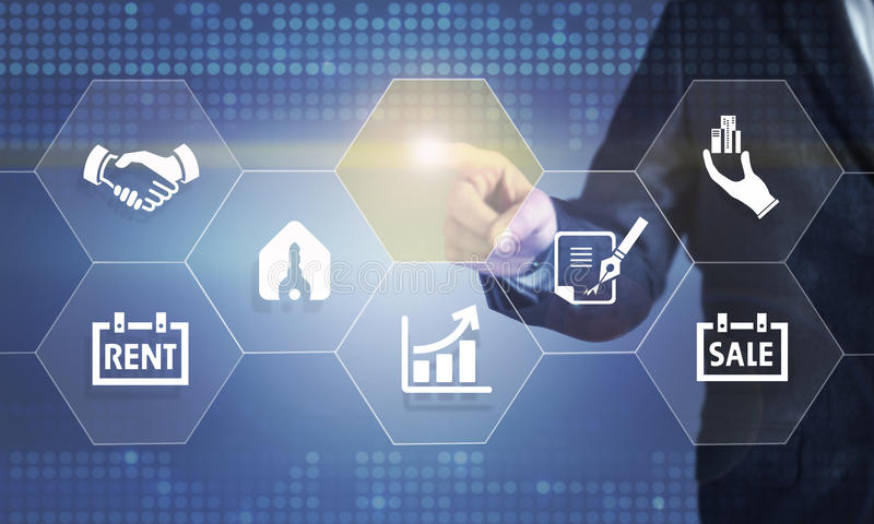 Hombre de negocios que toca la pantalla sobre propiedades inmobiliarias stock de ilustración