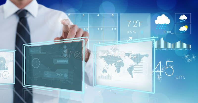 Hombre de negocios que toca y que obra recíprocamente con los paneles del interfaz de la tecnología ilustración del vector