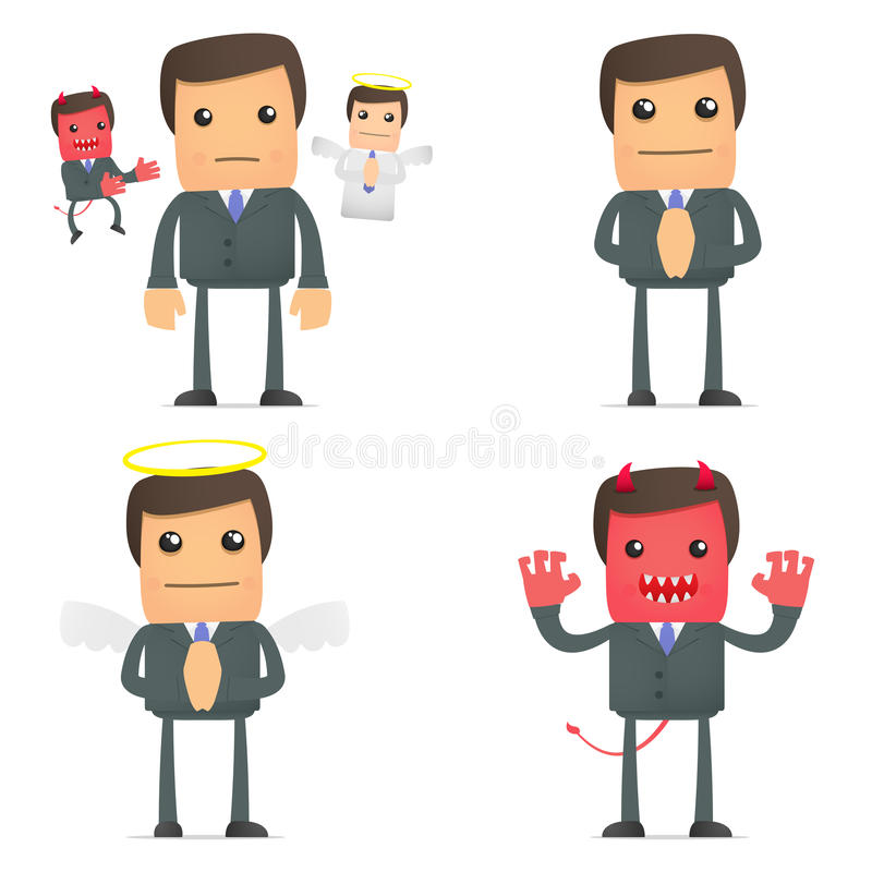 Hombre de negocios que toma una decisión entre el el bien y el mal stock de ilustración