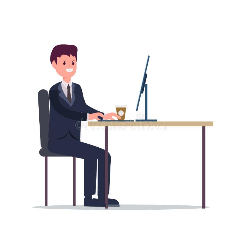 Hombre de negocios que trabaja con el ordenador en el ejemplo del vector del escritorio Frialdad joven del trabajo del director e ilustración del vector