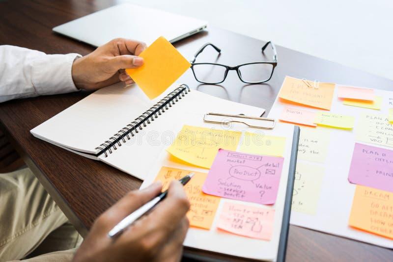 Hombre de negocios que trabaja con el papel de nota para inspirarse ideas Stra foto de archivo