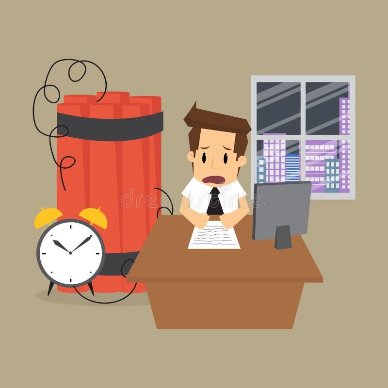 Hombre de negocios que trabaja dentro del límite de tiempo, una bomba de relojería ilustración del vector