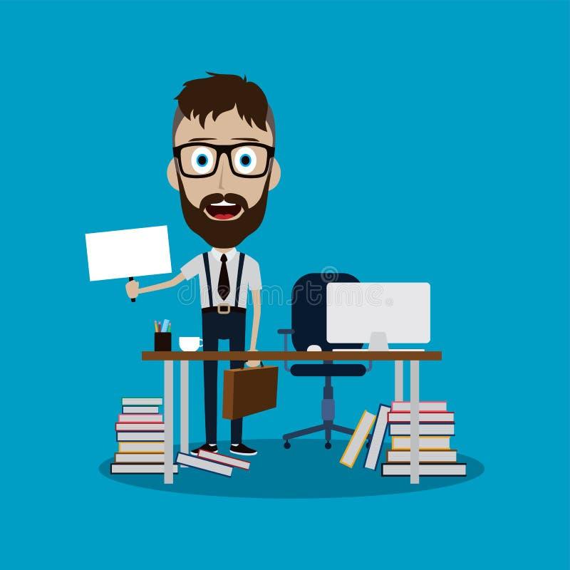 hombre de negocios que trabaja detrás del escritorio de oficina que lleva a cabo la muestra en blanco ilustración del vector