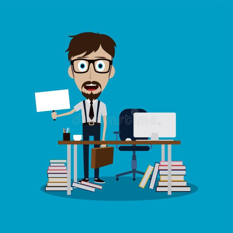 hombre de negocios que trabaja detrás del escritorio de oficina que lleva a cabo la muestra en blanco stock de ilustración