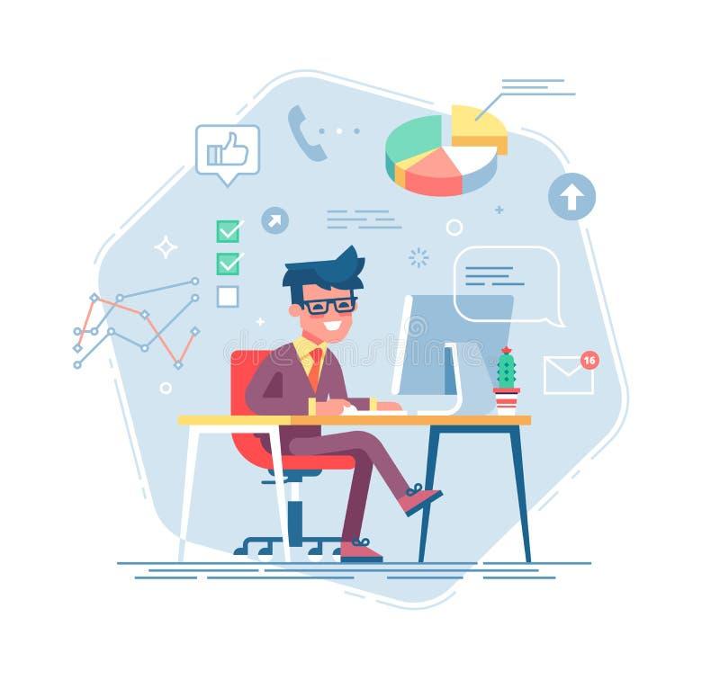 Hombre de negocios que trabaja detrás de su ordenador Vector libre illustration