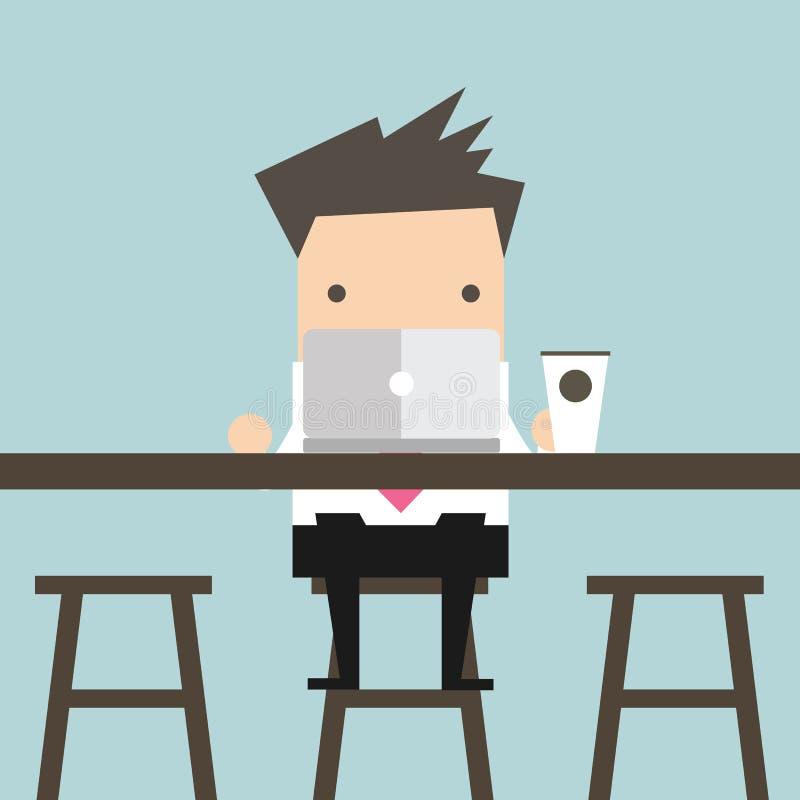 Hombre de negocios que trabaja en el ordenador portátil en la barra de café ilustración del vector