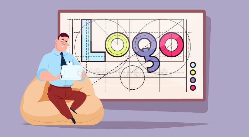 Hombre de negocios que trabaja en el ordenador portátil sobre Logo Word Creative Graphic Design en fondo geométrico abstracto de  ilustración del vector