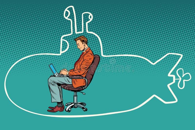 Hombre de negocios que trabaja en el ordenador portátil y que sueña sobre viajar en su ilustración del vector