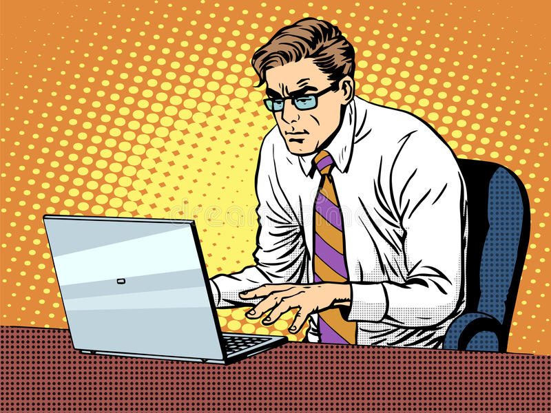 Hombre de negocios que trabaja en la computadora portátil ilustración del vector
