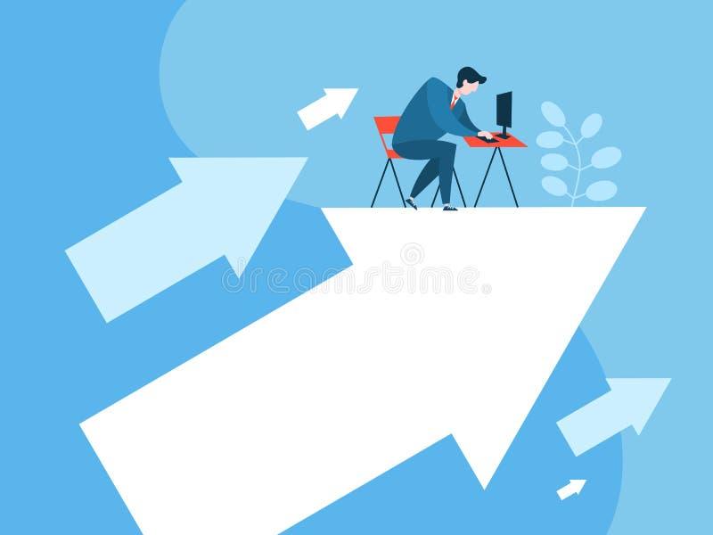 Hombre de negocios que trabaja en la flecha que señala hacia arriba ilustración del vector
