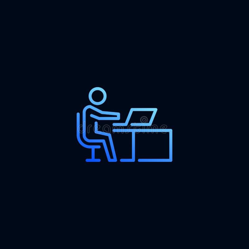 Hombre de negocios que trabaja en la línea de ordenador portátil icono Ejemplo del vector en estilo linear ilustración del vector