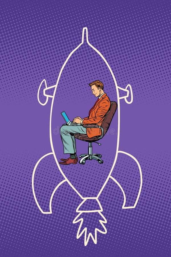 Hombre de negocios que trabaja en un ordenador portátil y sueños del vuelo en espacio ilustración del vector