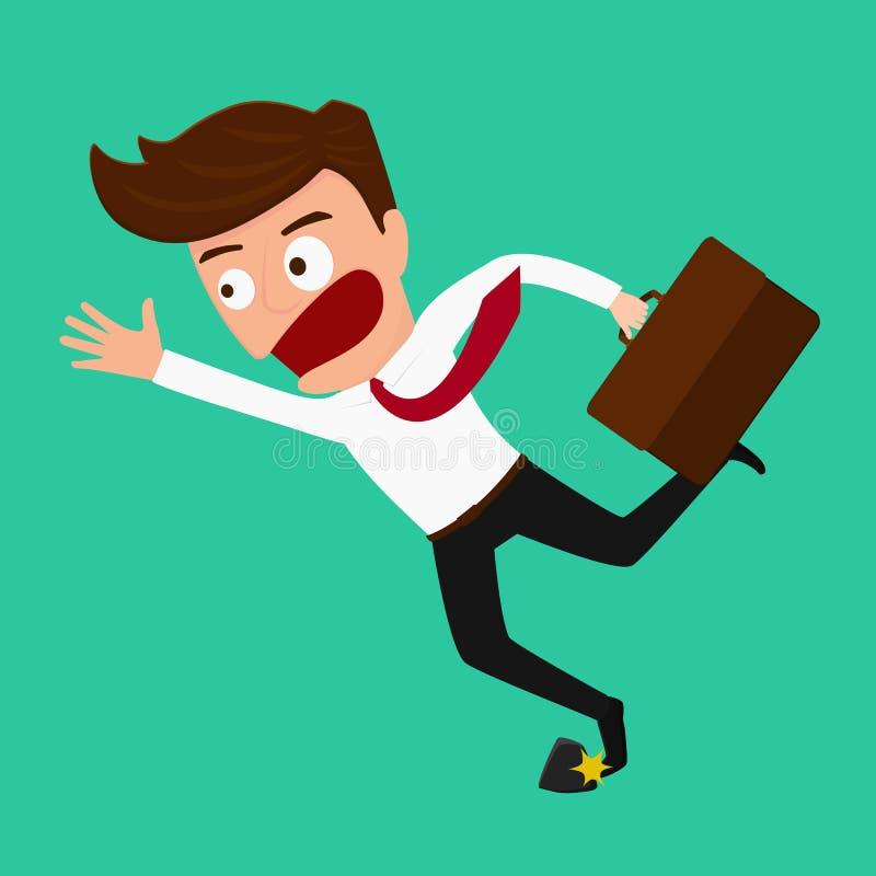 Hombre de negocios que tropieza en roca ilustración del vector