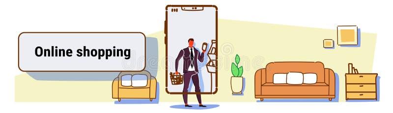 Hombre de negocios que usa al hombre en línea del concepto del app que hace compras móvil que elige la sala de estar moderna de l ilustración del vector