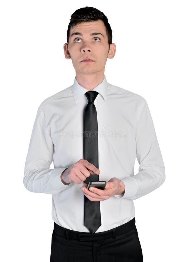 Hombre de negocios que usa el teléfono fotografía de archivo