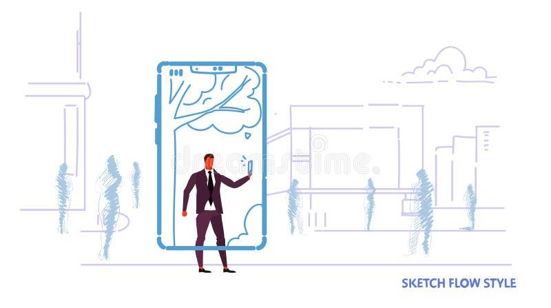 Hombre de negocios que usa la aplicación móvil que toma a foto del selfie el hombre de negocios en línea del concepto de la comun stock de ilustración