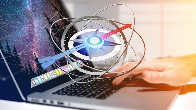Hombre de negocios que usa un compás de la navegación en un ordenador portátil - rendere 3d imagen de archivo libre de regalías