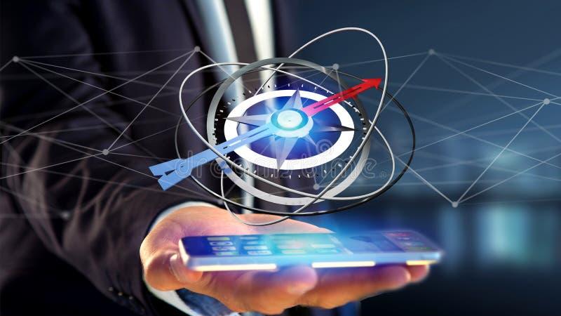 Hombre de negocios que usa un compás de la navegación en un smartphone - 3d ren foto de archivo