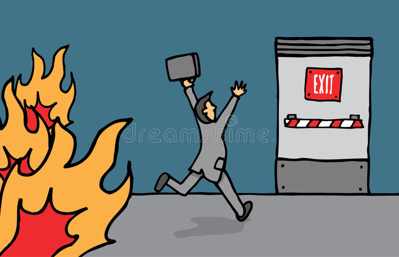Hombre de negocios que va a la salida de emergencia stock de ilustración