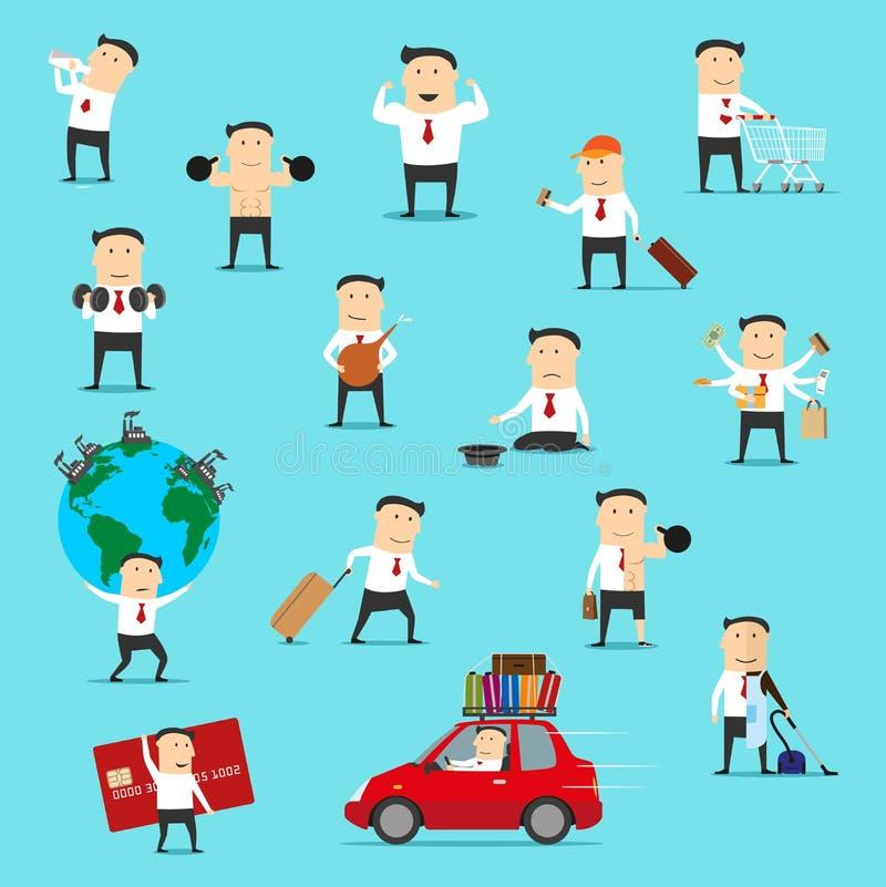 Hombre de negocios que viaja, haciendo compras y ejercicio ilustración del vector