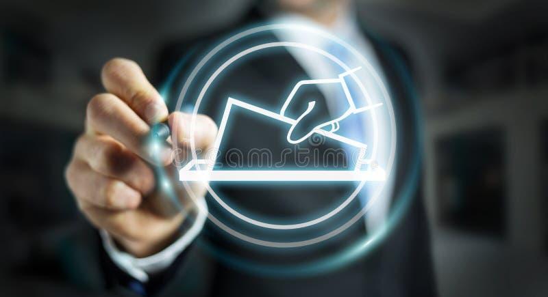 Hombre de negocios que vota usando la representación del interfaz digital 3D ilustración del vector