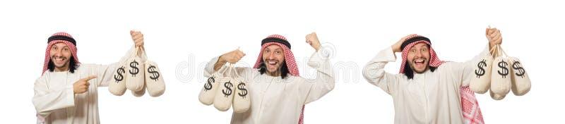 Hombre de negocios ?rabe con los sacos de dinero foto de archivo